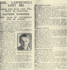 An article in the press asking for the return of the manuscript