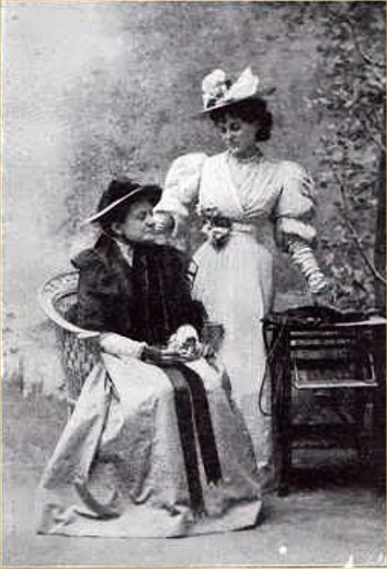 Mrs George Canninge as the original Miss Prism, with Evelyn Millard as Cecily Cardew in the 1895 production of The Importance of Being Earnest