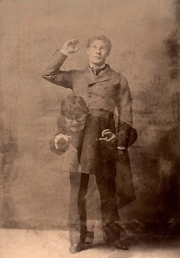 A double exposure photograph showing the actor Richard Mansfield in Jekyll and Hyde mode in 1897